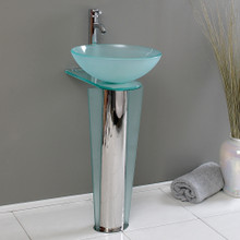 "Fresca  CMB1053-V Fresca Vitale 17"" Bathroom Pedestal with Glass Countertop & Vessel Sink"