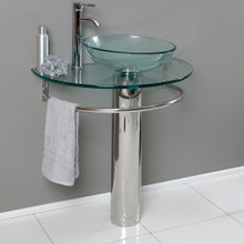 "Fresca  CMB1060-V Fresca Attrazione 28"" Bathroom Pedestal with Glass Countertop & Vessel Sink & Towel Bar"