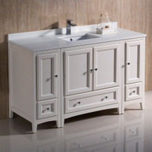 "Fresca  FCB20-123012AW-CWH-U Fresca Oxford 54"" Antique White Traditional Bathroom Cabinets w/ Top & Sink"
