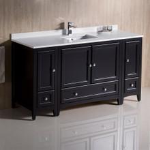 """Fresca  FCB20-123612ES-CWH-U Fresca Oxford 60"""" Espresso Traditional Bathroom Cabinets w/ Top & Sink"""