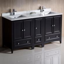 """Fresca  FCB20-241224ES-CWH-U Fresca Oxford 60"""" Espresso Traditional Double Sink Bathroom Cabinets w/ Top & Sinks"""