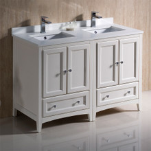 "Fresca  FCB20-2424AW-CWH-U Fresca Oxford 48"" Antique White Traditional Double Sink Bathroom Cabinets w/ Top & Sinks"