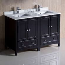 "Fresca  FCB20-2424ES-CWH-U Fresca Oxford 48"" Espresso Traditional Double Sink Bathroom Cabinets w/ Top & Sinks"