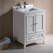 "Fresca  FCB2024AW-CWH-U Fresca Oxford 24"" Antique White Traditional Bathroom Cabinet w/ Top & Sinks"