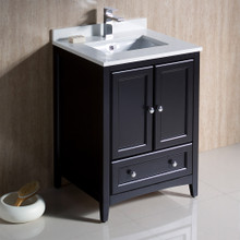 "Fresca  FCB2024ES-CWH-U Fresca Oxford 24"" Espresso Traditional Bathroom Cabinet w/ Top & Sink"