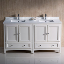 """Fresca  FCB20-3030AW-CWH-U Fresca Oxford 60"""" Antique White Traditional Double Sink Bathroom Cabinets w/ Top & Sinks"""