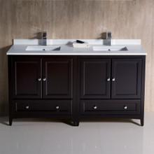 """Fresca  FCB20-3030ES-CWH-U Fresca Oxford 60"""" Espresso Traditional Double Sink Bathroom Cabinets w/ Top & Sinks"""
