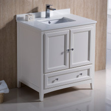 "Fresca  FCB2030AW-CWH-U Fresca Oxford 30"" Antique White Traditional Bathroom Cabinet w/ Top & Sink"