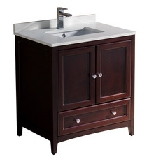 "FCB2030MH-CWH-U Fresca Oxford 30"" Mahogany Traditional Bathroom Cabinet w/ Top & Sink"