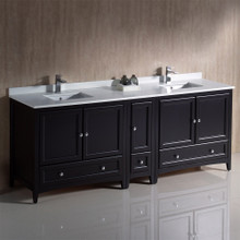 "Fresca  FCB20-361236ES-CWH-U Fresca Oxford 84"" Espresso Traditional Double Sink Bathroom Cabinets w/ Top & Sinks"