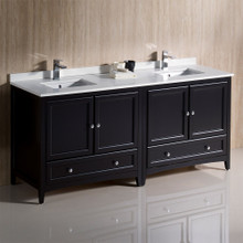 "Fresca  FCB20-3636ES-CWH-U Fresca Oxford 72"" Espresso Traditional Double Sink Bathroom Cabinets w/ Top & Sinks"