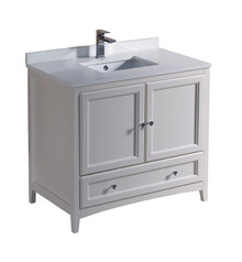 "FCB2036AW-CWH-U Fresca Oxford 36"" Antique White Traditional Bathroom Cabinet w/ Top & Sink"