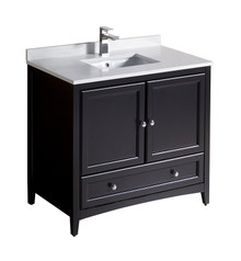 "FCB2036ES-CWH-U Fresca Oxford 36"" Espresso Traditional Bathroom Cabinet w/ Top & Sink"
