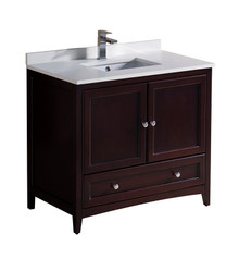 "FCB2036MH-CWH-U Fresca Oxford 36"" Mahogany Traditional Bathroom Cabinet w/ Top & Sink"