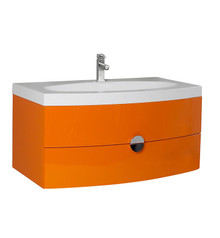 "FCB5092OR-I Fresca Energia 36"" Orange Wall Mount Bathroom Cabinet w/ Integrated Sink"