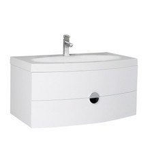 "FCB5092PW-I Fresca Energia 36"" White Wall Mount Bathroom Cabinet w/ Integrated Sink"