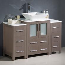 """Fresca  FCB62-122412GO-CWH-V Fresca Torino 48"""" Gray Oak Modern Bathroom Cabinets w/ Top & Vessel Sink"""