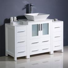 "Fresca  FCB62-122412WH-CWH-V Fresca Torino 48"" White Modern Bathroom Cabinets w/ Top & Vessel Sink"