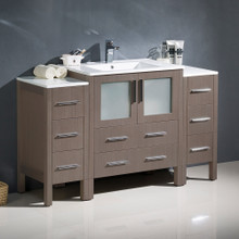 "Fresca  FCB62-123012GO-I Fresca Torino 54"" Gray Oak Modern Bathroom Cabinets w/ Integrated Sink"