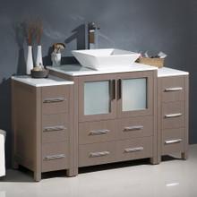 """Fresca  FCB62-123012GO-CWH-V Fresca Torino 54"""" Gray Oak Modern Bathroom Cabinets w/ Top & Vessel Sink"""