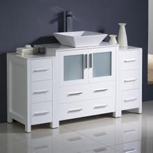 "Fresca  FCB62-123012WH-CWH-V Fresca Torino 54"" White Modern Bathroom Cabinets w/ Top & Vessel Sink"