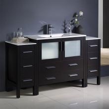 """Fresca  FCB62-123612ES-I Fresca Torino 60"""" Espresso Modern Bathroom Cabinets w/ Integrated Sink"""