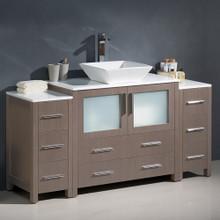 """Fresca  FCB62-123612GO-CWH-V Fresca Torino 60"""" Gray Oak Modern Bathroom Cabinets w/ Top & Vessel Sink"""