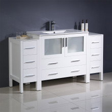 "Fresca  FCB62-123612WH-I Fresca Torino 60"" White Modern Bathroom Cabinets w/ Integrated Sink"