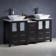 "Fresca  FCB62-241224ES-CWH-V Fresca Torino 60"" Espresso Modern Double Sink Bathroom Cabinets w/ Tops & Vessel Sinks"