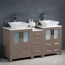 """Fresca  FCB62-241224GO-CWH-V Fresca Torino 60"""" Gray Oak Modern Double Sink Bathroom Cabinets w/ Tops & Vessel Sinks"""
