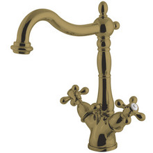 Kingston Brass Two Handle Mono Deck Two Handle Single Hole Lavatory Faucet with Brass Pop-Up Drain & Optional Deck Plate - Polished Brass KS1432AX