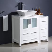 "Fresca  FCB62-2412WH-CWH-V Fresca Torino 36"" White Modern Bathroom Cabinets w/ Top & Vessel Sink"