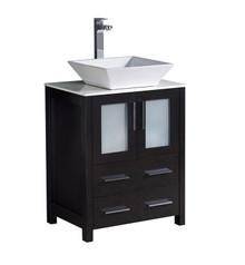 """FCB6224ES-CWH-V Fresca Torino 24"""" Espresso Modern Bathroom Cabinet w/ Top &Vessel Sink"""