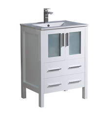 "FCB6224WH-I Fresca Torino 24"" White Modern Bathroom Cabinet w/ Top & Integrated Sink"
