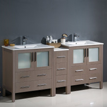 "Fresca  FCB62-301230GO-I Fresca Torino 72"" Gray Oak Modern Double Sink Bathroom Cabinets w/ Integrated Sinks"