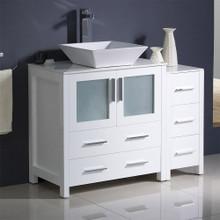 "Fresca  FCB62-3012WH-CWH-V Fresca Torino 42"" White Modern Bathroom Cabinets w/ Top & Vessel Sink"