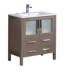 "FCB6230GO-I Fresca Torino 30"" Gray Oak Modern Bathroom Cabinet w/ Integrated Sink"