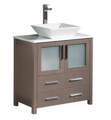 "FCB6230GO-CWH-V Fresca Torino 30"" Gray Oak Modern Bathroom Cabinet w/ Top & Vessel Sink"