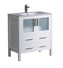 "FCB6230WH-I Fresca Torino 30"" White Modern Bathroom Cabinet w/ Integrated Sink"
