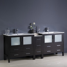 "Fresca  FCB62-361236ES-I Fresca Torino 84"" Espresso Modern Double Sink Bathroom Cabinets w/ Integrated Sinks"