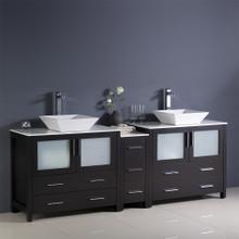 "Fresca  FCB62-361236ES-CWH-V Fresca Torino 84"" Espresso Modern Double Sink Bathroom Cabinets w/ Tops & Vessel Sinks"