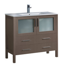 "FCB6236GO-I Fresca Torino 36"" Gray Oak Modern Bathroom Cabinet w/ Integrated Sink"