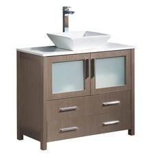 "FCB6236GO-CWH-V Fresca Torino 36"" Gray Oak Modern Bathroom Cabinet w/ Top & Vessel Sink"