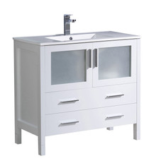 "FCB6236WH-I Fresca Torino 36"" White Modern Bathroom Cabinet w/ Integrated Sink"
