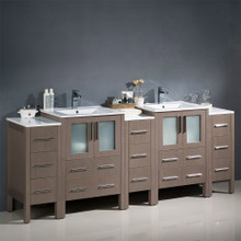 "Fresca  FCB62-72GO-I Fresca Torino 84"" Gray Oak Modern Double Sink Bathroom Cabinets w/ Integrated Sinks"