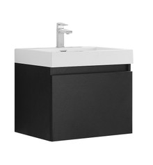 "FCB8006BW-I Fresca Nano Black 24"" Wall Mount Bathroom Cabinet w/ Integrated Sink"