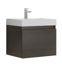 "FCB8006GO-I Fresca Nano Gray Oak 24"" Wall Mount Bathroom Cabinet w/ Integrated Sink"