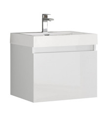"FCB8006WH-I Fresca Nano White 24"" Wall Mount Bathroom Cabinet w/ Integrated Sink"