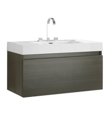 "FCB8010GO-I Fresca Mezzo Gray Oak 39"" Wall Mount Bathroom Cabinet w/ Integrated Sink"