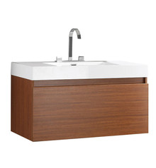 "FCB8010TK-I Fresca Mezzo Teak 39"" Wall Mount Bathroom Cabinet w/ Integrated Sink"